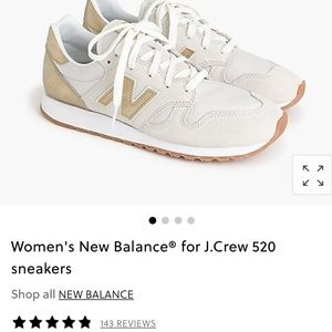 JCrew New Balance Cream and Gold Sneakers Size 7.5